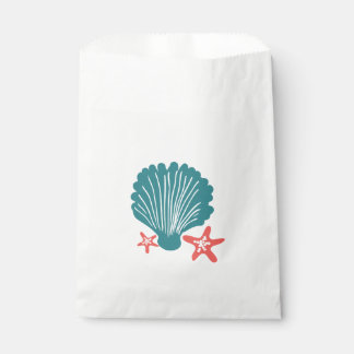 Teal and Orange Sea Shell and Star Fish Favour Bag