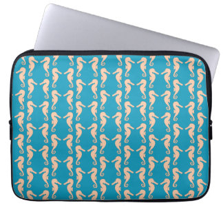 Teal and Peach Color Seahorse Pattern. Computer Sleeves