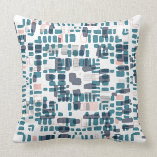 Teal and pink beads throw pillow