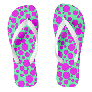 TEAL AND PINK BUBBLES FLIP-FLOP THONGS