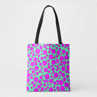 TEAL AND PINK BUBBLES TOTE BAG