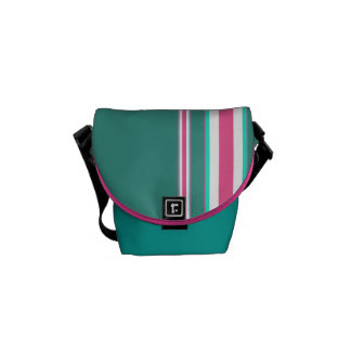 Teal and Pink Candy Striped Messenger Bag