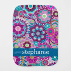 Teal and Pink Floral Pattern with Custom Baby Name Burp Cloth