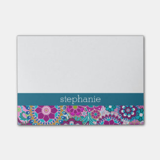 Teal and Pink Floral Pattern with Custom Baby Name Post-it Notes