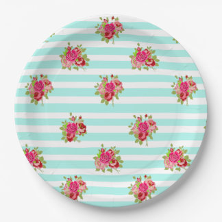 Teal and Pink Floral Vintage Paper Plates 9 Inch Paper Plate