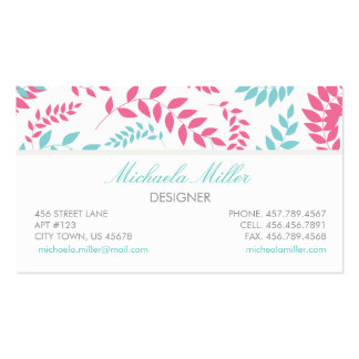 Teal and Pink Foliage Ferns Pattern Business Card