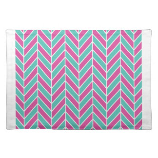 Teal and Pink Herringbone Placemat