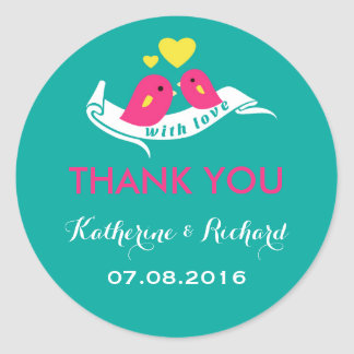 Teal and Pink Love Birds Wedding Favour Sticker