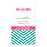 Teal and Pink Modern Chevron Stripes Business Card Templates