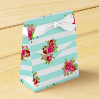 Teal and Pink Roses Candy Favour Bag Wedding Favour Boxes