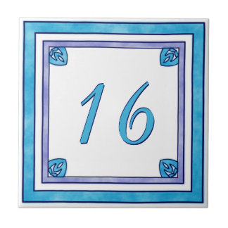 Teal and Purple Big House Number Small Square Tile