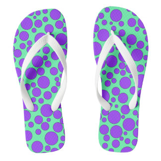 TEAL AND PURPLE BUBBLES FLIP-FLOP THONGS