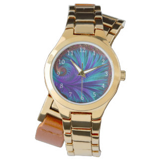 Teal and Purple Feather Fan Watch