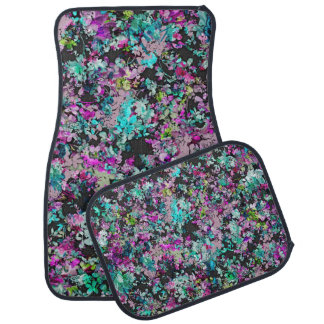 Teal and Purple Floral Collage Pattern Car Mat