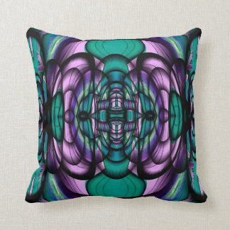 Teal and Purple Fractal Design American MoJo Pillo Throw Cushion