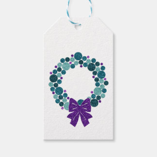Teal and Purple Glittery Wreath of Ornaments