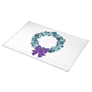 Teal and Purple Glittery Wreath of Ornaments Place Mats