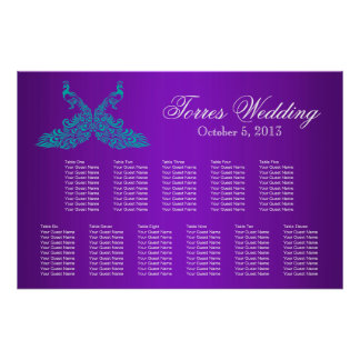 Teal and Purple Peacock Seating Chart Poster