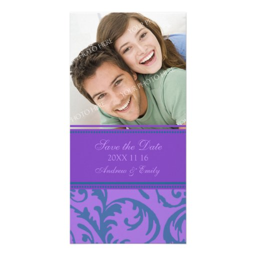 Teal and Purple Save the Date Wedding Photo Cards