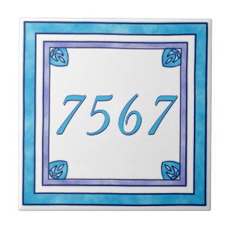 Teal and Purple Small House Number Tile