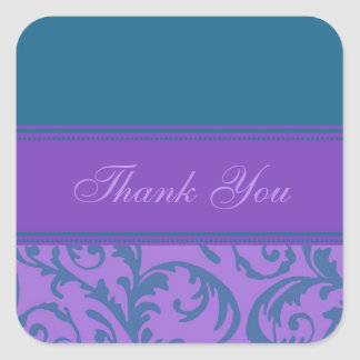 Teal and Purple Thank You Wedding Envelope Seals