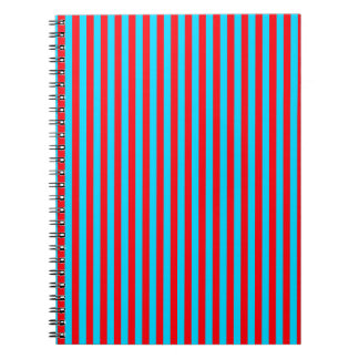 Teal and Red Stripes Spiral Note Book