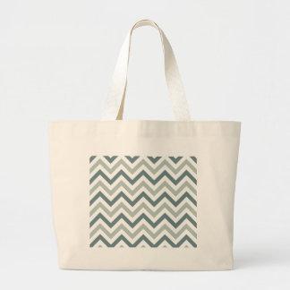 Teal and sage chevron large tote bag