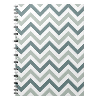 Teal and sage chevron spiral notebook