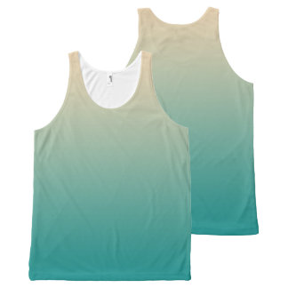 Teal and sand yellow gradient All-Over print singlet