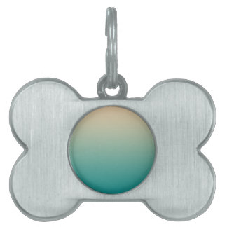 Teal and sand yellow gradient pet name tag