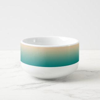 Teal and sand yellow gradient soup mug