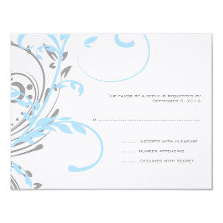Teal and Silver Double Floral Wedding RSVP 11 Cm X 14 Cm Invitation Card