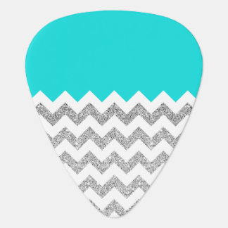 Teal and Silver Faux Glitter Chevron Guitar Pick