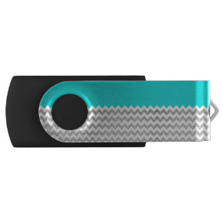 Teal and Silver Faux Glitter Chevron USB Flash Drive