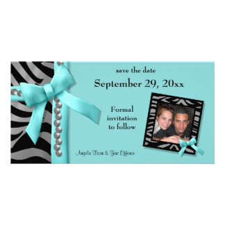 Teal And Silver Zebra Gems Save The Date Card Custom Photo Card