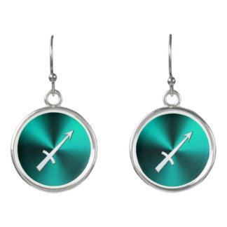 Teal and Silver Zodiac Sign Sagittarius Earrings