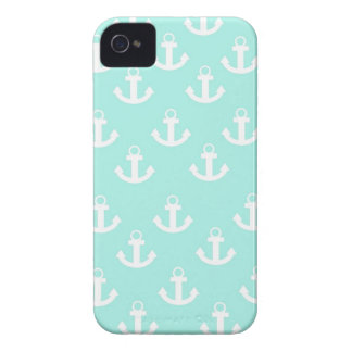 Teal and White anchor iPhone 4/4s case