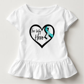 Teal and White Awareness Ribbon For My Hero Shirt