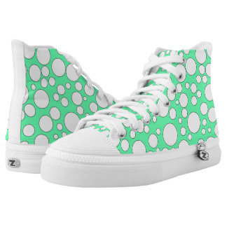 TEAL AND WHITE BUBBLES HIGH-TOP SNEAKERS