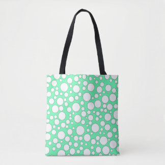 TEAL AND WHITE BUBBLES TOTE BAG