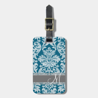 Teal and White Chalkboard Damask Pattern Luggage Tag