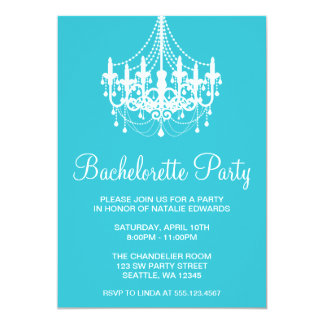 Teal and White Chandelier Bachelorette Party 13 Cm X 18 Cm Invitation Card