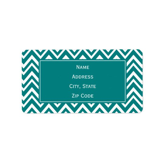 Teal and White Chevron Pattern Label