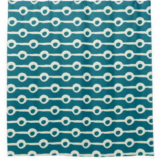 Teal and White Circles and Lines Geometric Shower Curtain