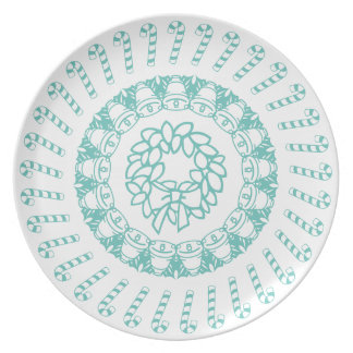 Teal and White Circular Christmas Pattern Plate
