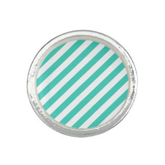 Teal and White Diagonal Stripes Pattern