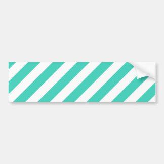 Teal and White Diagonal Stripes Pattern Bumper Sticker