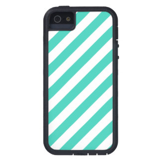 Teal and White Diagonal Stripes Pattern Case For iPhone 5