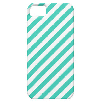 Teal and White Diagonal Stripes Pattern Case For The iPhone 5