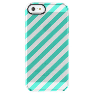 Teal and White Diagonal Stripes Pattern Clear iPhone SE/5/5s Case